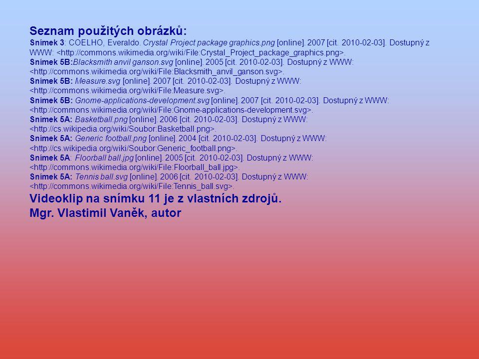 Seznam použitých obrázků: Snímek 3: COELHO, Everaldo.