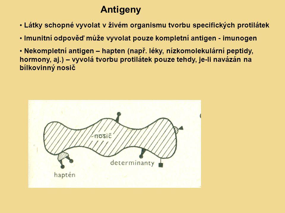 Obr 1: Antigeny – hapten, nosič, determinanty Látky schopné vyvolat v živém organismu tvorbu specifických protilátek Imunitní odpověď může vyvolat pouze kompletní antigen - imunogen Nekompletní antigen – hapten (např.