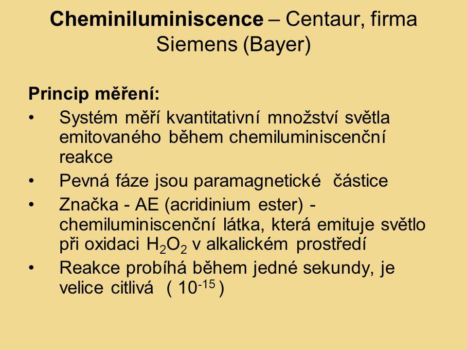 Cheminiluminiscence – Centaur, firma Siemens (Bayer) Princip měření: Systém měří kvantitativní množství světla emitovaného během chemiluminiscenční reakce Pevná fáze jsou paramagnetické částice Značka - AE (acridinium ester) - chemiluminiscenční látka, která emituje světlo při oxidaci H 2 O 2 v alkalickém prostředí Reakce probíhá během jedné sekundy, je velice citlivá ( 10 -15 )