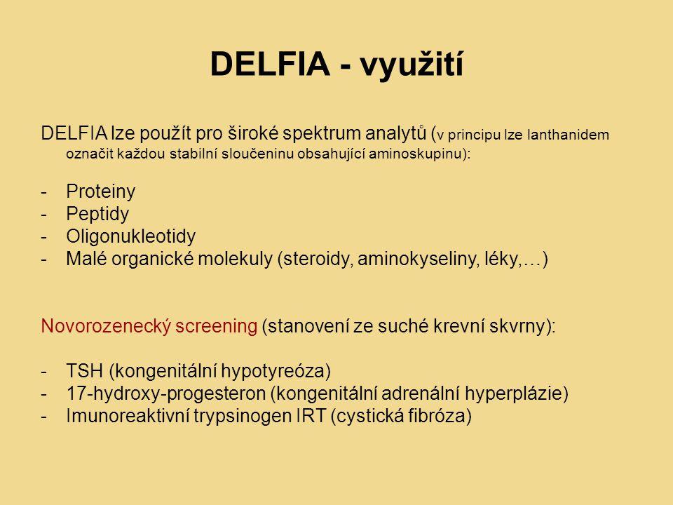 DELFIA - využití DELFIA lze použít pro široké spektrum analytů ( v principu lze lanthanidem označit každou stabilní sloučeninu obsahující aminoskupinu): -Proteiny -Peptidy -Oligonukleotidy -Malé organické molekuly (steroidy, aminokyseliny, léky,…) Novorozenecký screening (stanovení ze suché krevní skvrny): -TSH (kongenitální hypotyreóza) -17-hydroxy-progesteron (kongenitální adrenální hyperplázie) -Imunoreaktivní trypsinogen IRT (cystická fibróza)