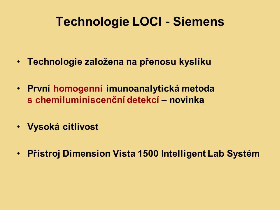 Technologie LOCI - Siemens Technologie založena na přenosu kyslíku První homogenní imunoanalytická metoda s chemiluminiscenční detekcí – novinka Vysoká citlivost Přístroj Dimension Vista 1500 Intelligent Lab Systém