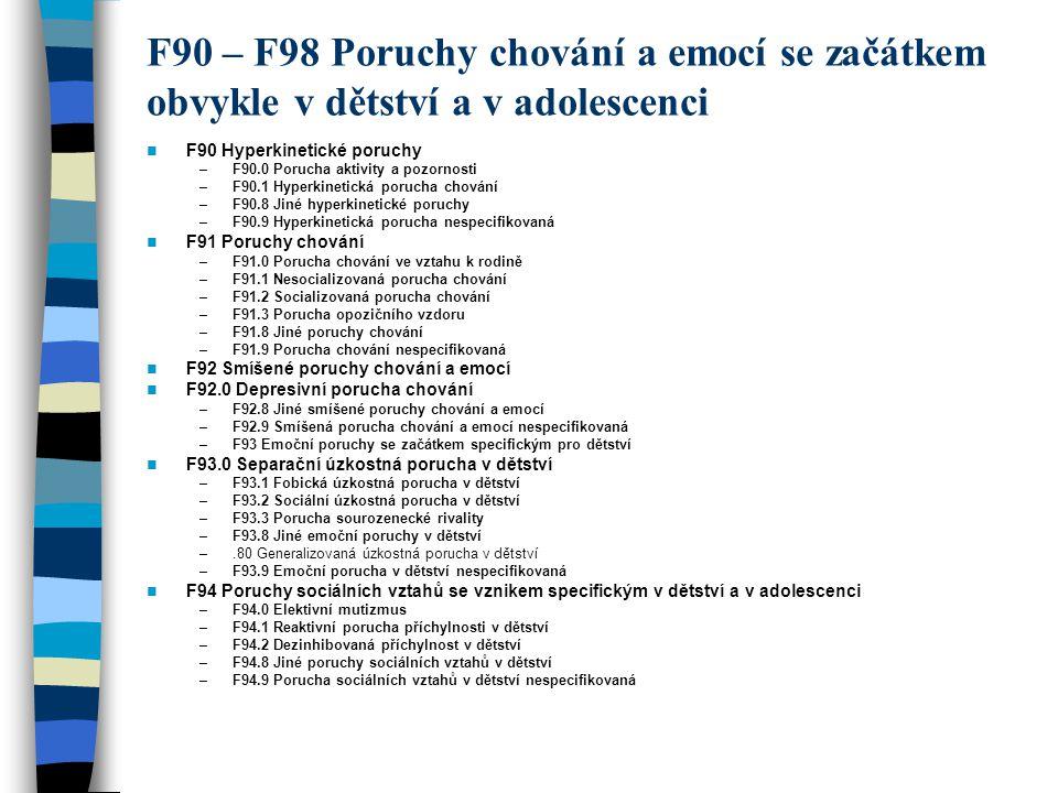 F90 – F98 Poruchy chování a emocí se začátkem obvykle v dětství a v adolescenci F90 Hyperkinetické poruchy –F90.0 Porucha aktivity a pozornosti –F90.1