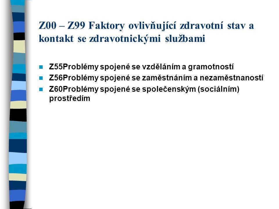 Z00 – Z99 Faktory ovlivňující zdravotní stav a kontakt se zdravotnickými službami Z55Problémy spojené se vzděláním a gramotností Z56Problémy spojené s