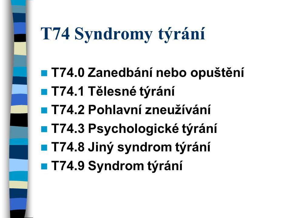 T74 Syndromy týrání T74.0 Zanedbání nebo opuštění T74.1 Tělesné týrání T74.2 Pohlavní zneužívání T74.3 Psychologické týrání T74.8 Jiný syndrom týrání