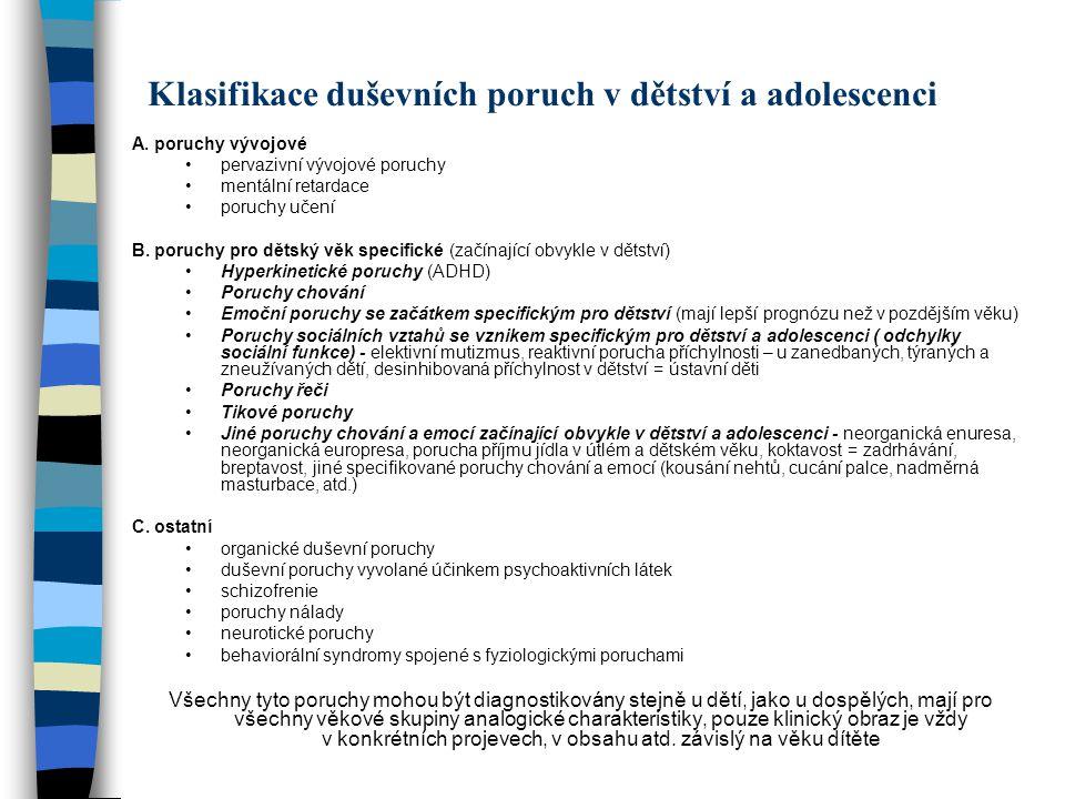 Klasifikace duševních poruch v dětství a adolescenci A. poruchy vývojové pervazivní vývojové poruchy mentální retardace poruchy učení B. poruchy pro d