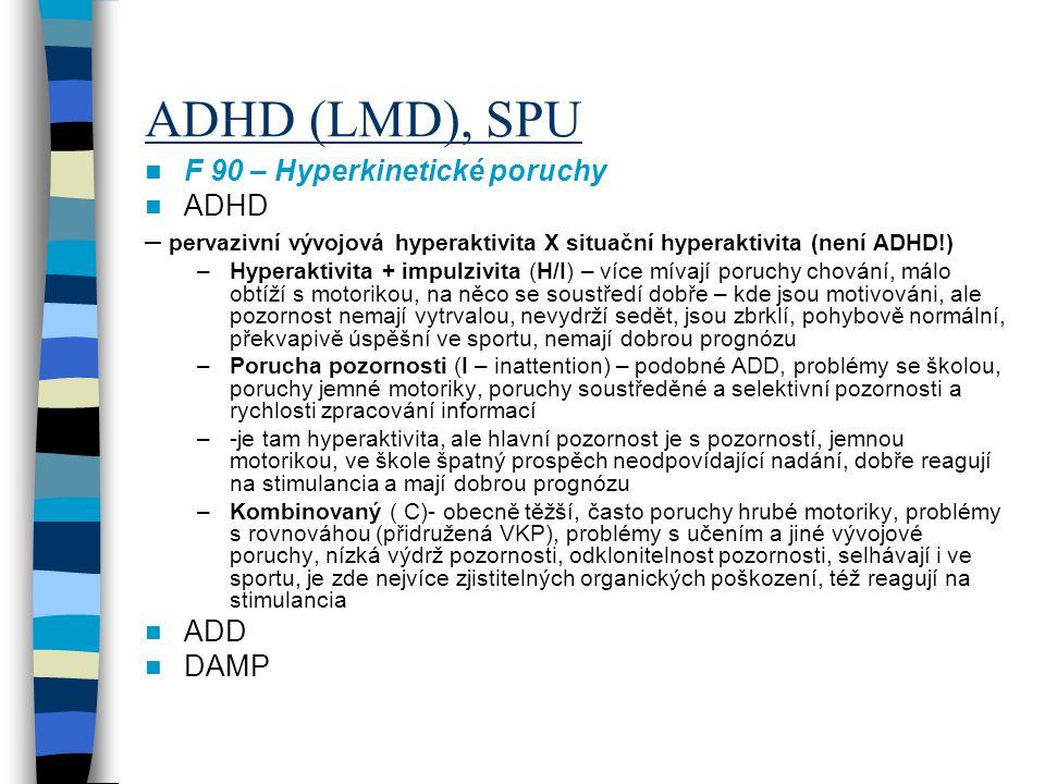 ADHD (LMD), SPU F 90 – Hyperkinetické poruchy ADHD – pervazivní vývojová hyperaktivita X situační hyperaktivita (není ADHD!) –Hyperaktivita + impulziv