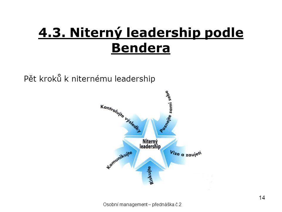 14 4.3. Niterný leadership podle Bendera Pět kroků k niternému leadership Osobní management – přednáška č.2