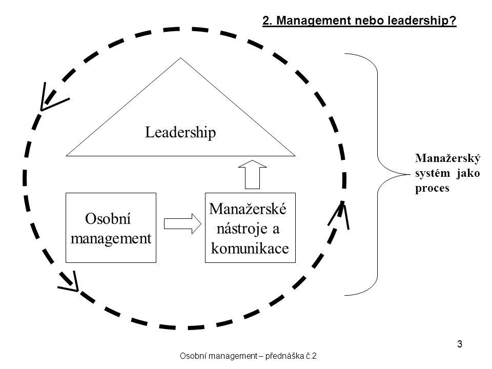3 Leadership Osobní management Manažerské nástroje a komunikace Manažerský systém jako proces 2. Management nebo leadership? Osobní management – předn
