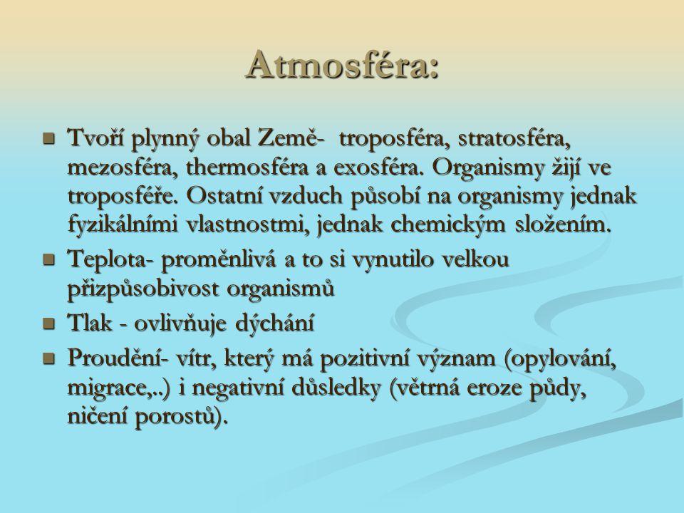 Atmosféra: Tvoří plynný obal Země- troposféra, stratosféra, mezosféra, thermosféra a exosféra. Organismy žijí ve troposféře. Ostatní vzduch působí na