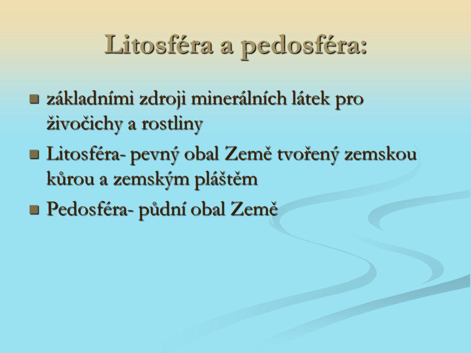 Litosféra a pedosféra: základními zdroji minerálních látek pro živočichy a rostliny základními zdroji minerálních látek pro živočichy a rostliny Litos