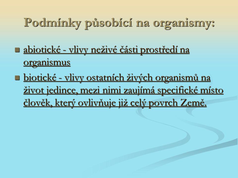 Podmínky působící na organismy: abiotické - vlivy neživé části prostředí na organismus abiotické - vlivy neživé části prostředí na organismus biotické
