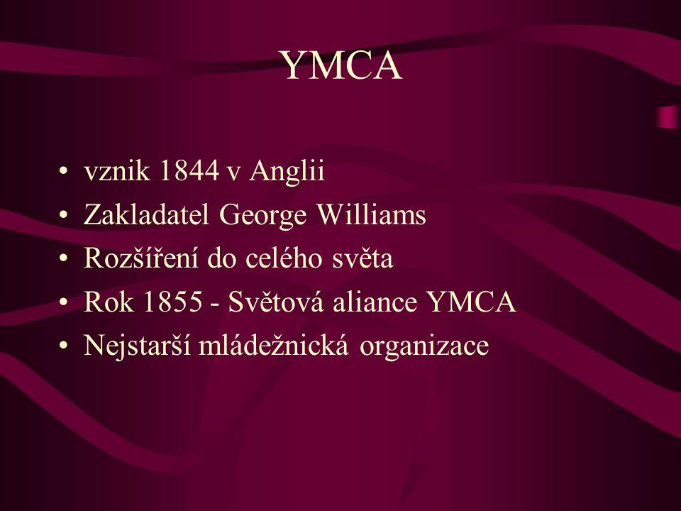 YMCA vznik 1844 v Anglii Zakladatel George Williams Rozšíření do celého světa Rok 1855 - Světová aliance YMCA Nejstarší mládežnická organizace