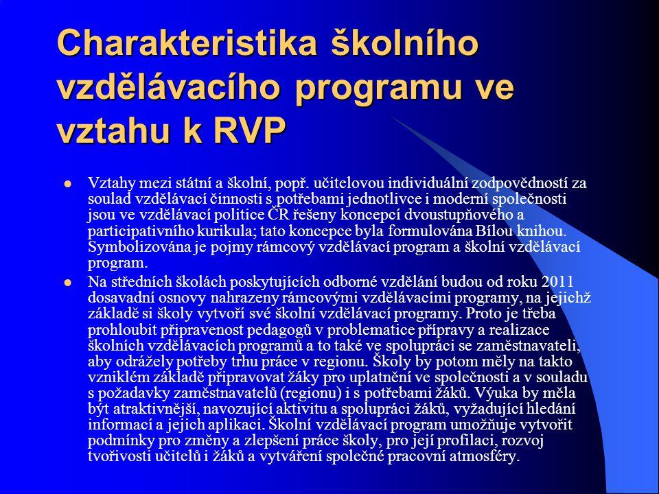 Charakteristika školního vzdělávacího programu ve vztahu k RVP Vztahy mezi státní a školní, popř. učitelovou individuální zodpovědností za soulad vzdě