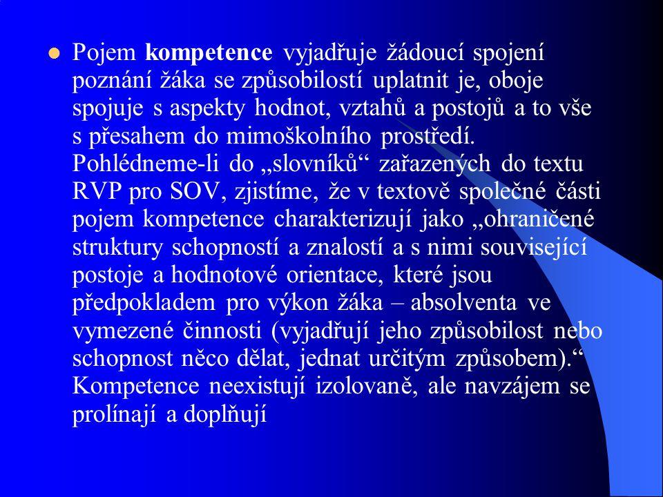 Pojem kompetence vyjadřuje žádoucí spojení poznání žáka se způsobilostí uplatnit je, oboje spojuje s aspekty hodnot, vztahů a postojů a to vše s přesa