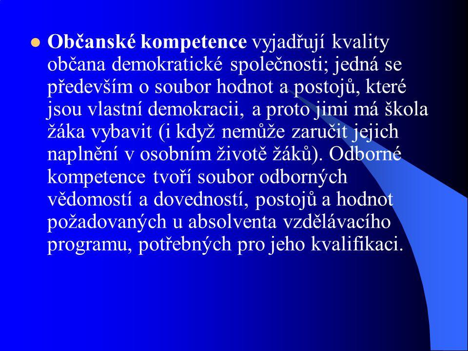 Občanské kompetence vyjadřují kvality občana demokratické společnosti; jedná se především o soubor hodnot a postojů, které jsou vlastní demokracii, a