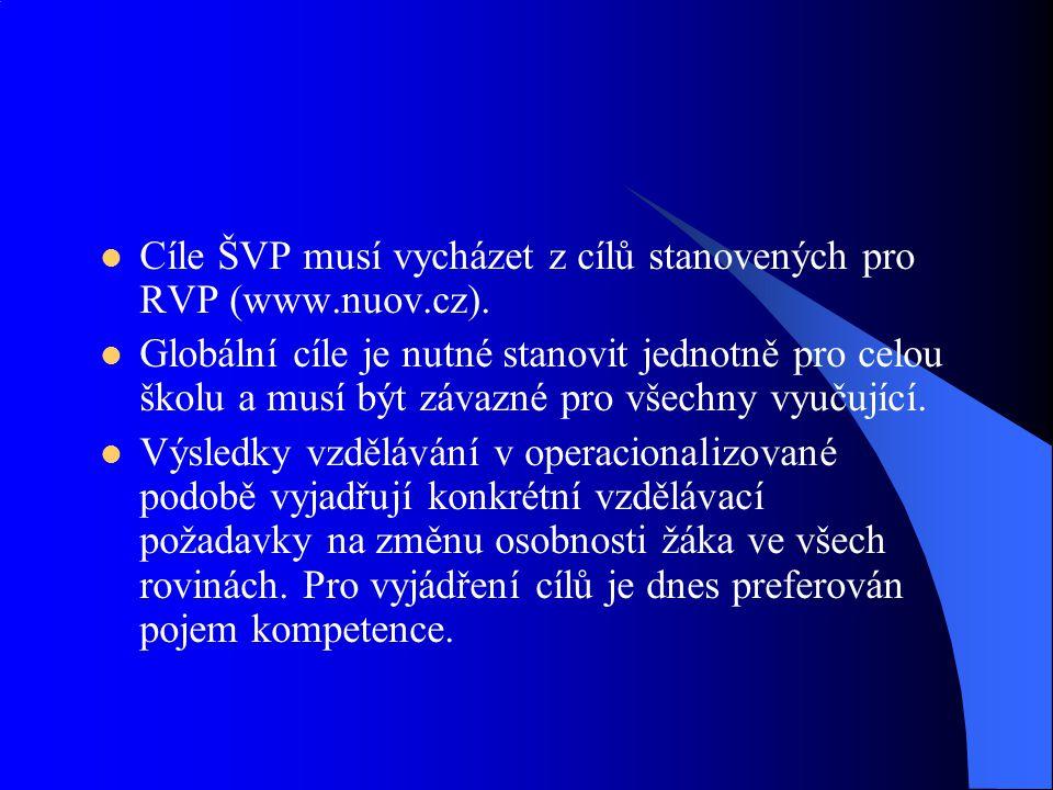 Cíle ŠVP musí vycházet z cílů stanovených pro RVP (www.nuov.cz). Globální cíle je nutné stanovit jednotně pro celou školu a musí být závazné pro všech