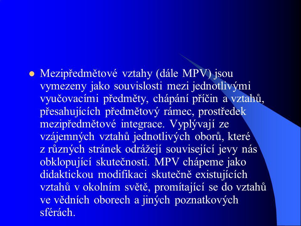Mezipředmětové vztahy (dále MPV) jsou vymezeny jako souvislosti mezi jednotlivými vyučovacími předměty, chápání příčin a vztahů, přesahujících předmět