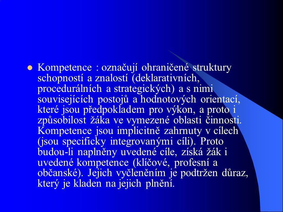 Kompetence : označují ohraničené struktury schopností a znalostí (deklarativních, procedurálních a strategických) a s nimi souvisejících postojů a hod