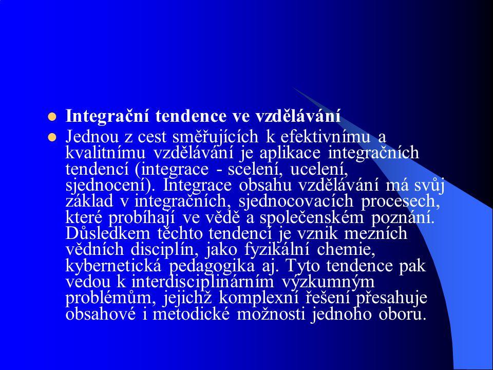 Integrační tendence ve vzdělávání Jednou z cest směřujících k efektivnímu a kvalitnímu vzdělávání je aplikace integračních tendencí (integrace - scele