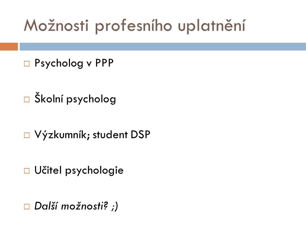 Možnosti profesního uplatnění  Psycholog v PPP  Školní psycholog  Výzkumník; student DSP  Učitel psychologie  Další možnosti.