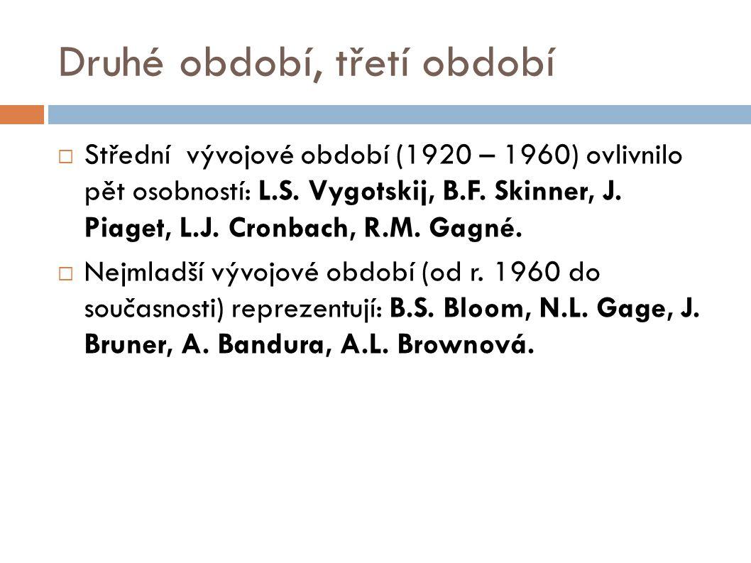 Druhé období, třetí období  Střední vývojové období (1920 – 1960) ovlivnilo pět osobností: L.S.