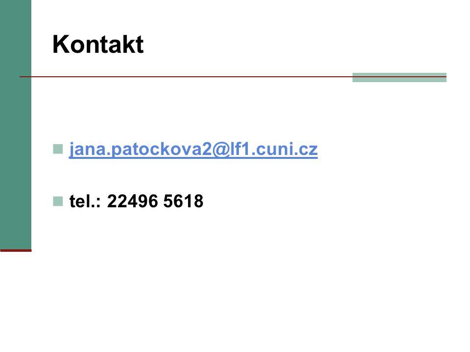 Kontakt jana.patockova2@lf1.cuni.cz tel.: 22496 5618