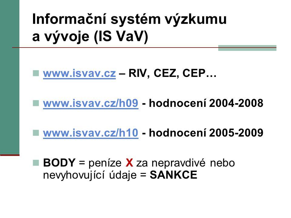 Informační systém výzkumu a vývoje (IS VaV) www.isvav.cz – RIV, CEZ, CEP… www.isvav.cz www.isvav.cz/h09 - hodnocení 2004-2008 www.isvav.cz/h09 www.isvav.cz/h10 - hodnocení 2005-2009 www.isvav.cz/h10 BODY = peníze X za nepravdivé nebo nevyhovující údaje = SANKCE