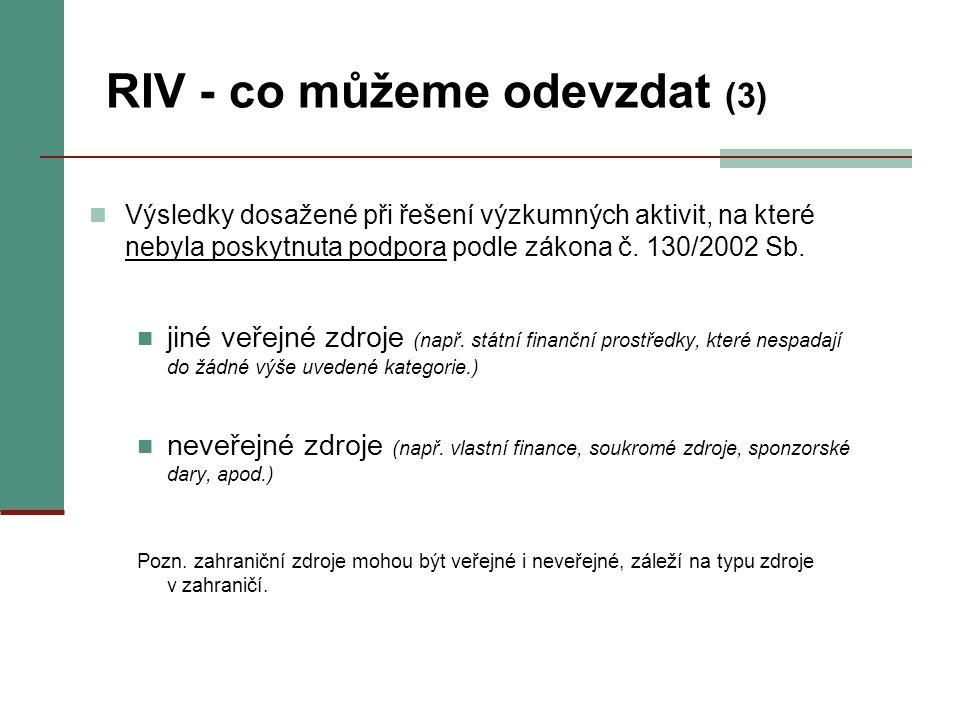 RIV - co můžeme odevzdat (3) Výsledky dosažené při řešení výzkumných aktivit, na které nebyla poskytnuta podpora podle zákona č. 130/2002 Sb. jiné veř
