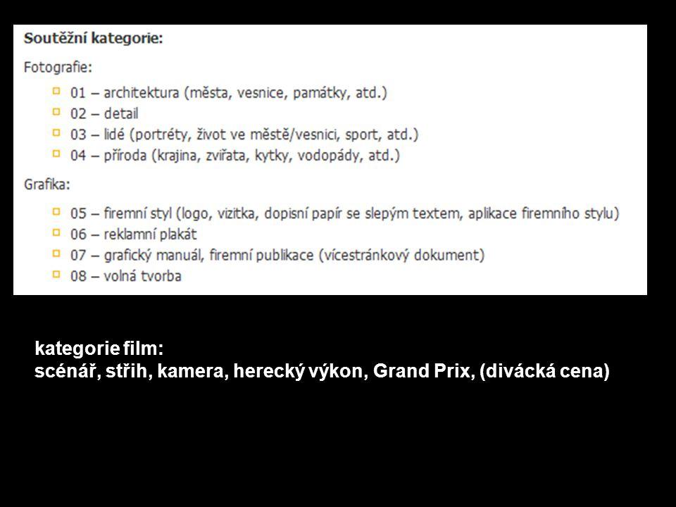 kategorie film: scénář, střih, kamera, herecký výkon, Grand Prix, (divácká cena)