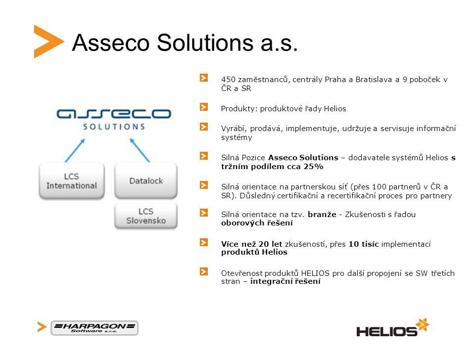 Asseco Solutions a.s. 450 zaměstnanců, centrály Praha a Bratislava a 9 poboček v ČR a SR Produkty: produktové řady Helios Vyrábí, prodává, implementuj