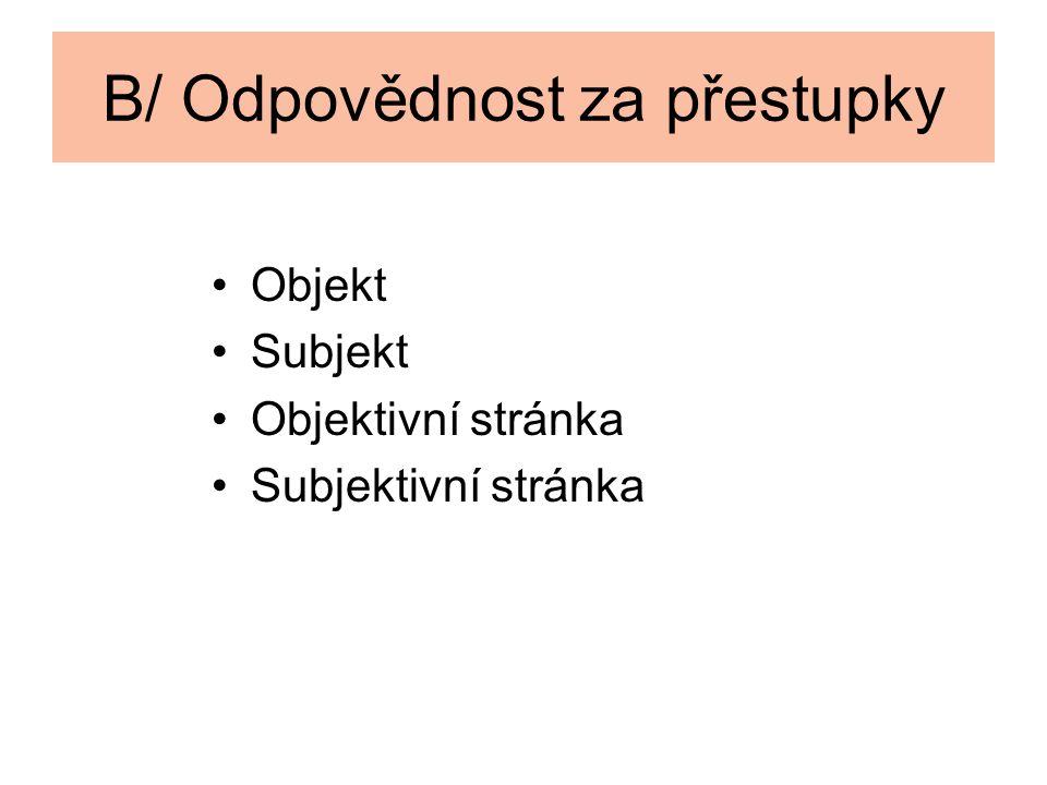 B/ Odpovědnost za přestupky Objekt Subjekt Objektivní stránka Subjektivní stránka