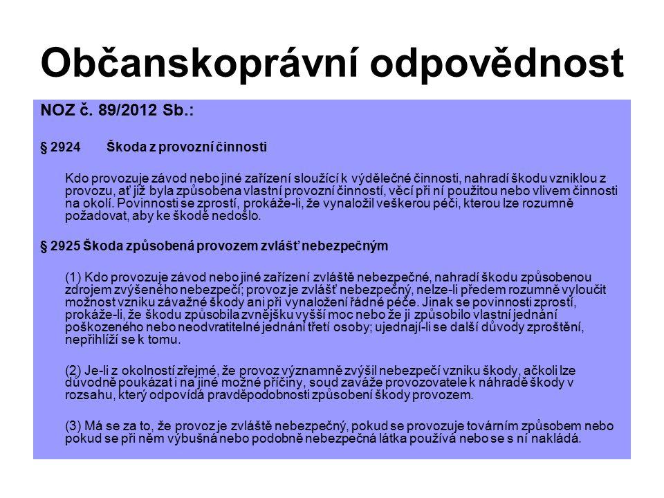 Občanskoprávní odpovědnost NOZ č. 89/2012 Sb.: § 2924Škoda z provozní činnosti Kdo provozuje závod nebo jiné zařízení sloužící k výdělečné činnosti, n