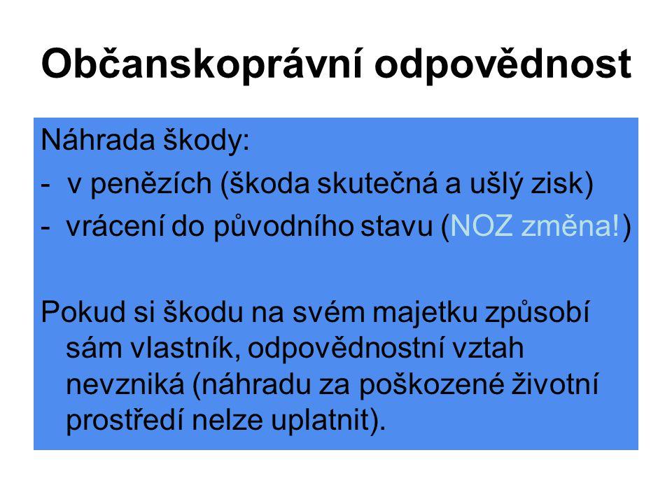 Občanskoprávní odpovědnost Náhrada škody: - v penězích (škoda skutečná a ušlý zisk) -vrácení do původního stavu (NOZ změna!) Pokud si škodu na svém ma