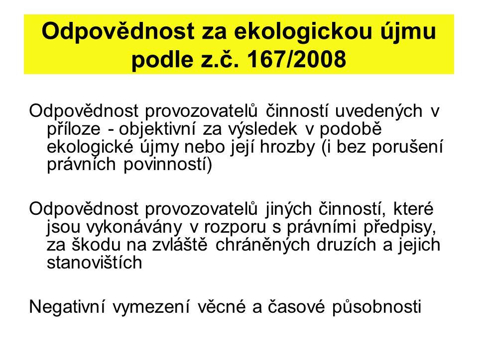Odpovědnost za ekologickou újmu podle z.č. 167/2008 Odpovědnost provozovatelů činností uvedených v příloze - objektivní za výsledek v podobě ekologick