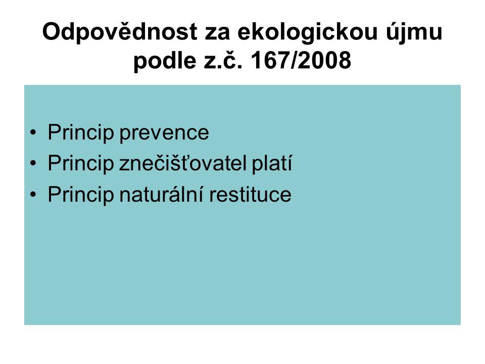 Odpovědnost za ekologickou újmu podle z.č. 167/2008 Princip prevence Princip znečišťovatel platí Princip naturální restituce