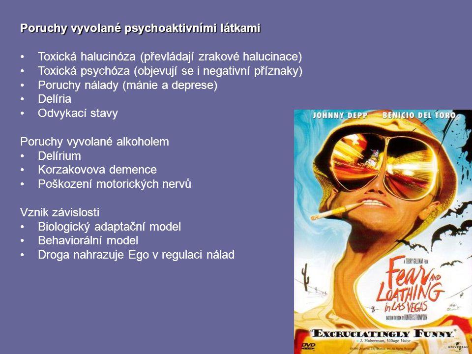 Poruchy vyvolané psychoaktivními látkami Toxická halucinóza (převládají zrakové halucinace) Toxická psychóza (objevují se i negativní příznaky) Poruch