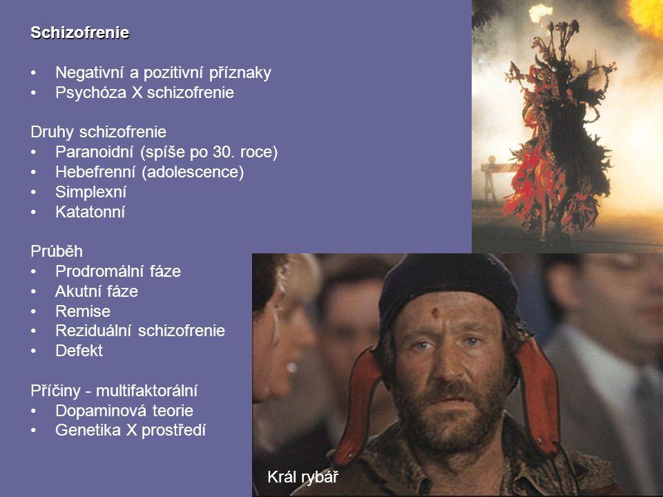 Schizofrenie Negativní a pozitivní příznaky Psychóza X schizofrenie Druhy schizofrenie Paranoidní (spíše po 30. roce) Hebefrenní (adolescence) Simplex