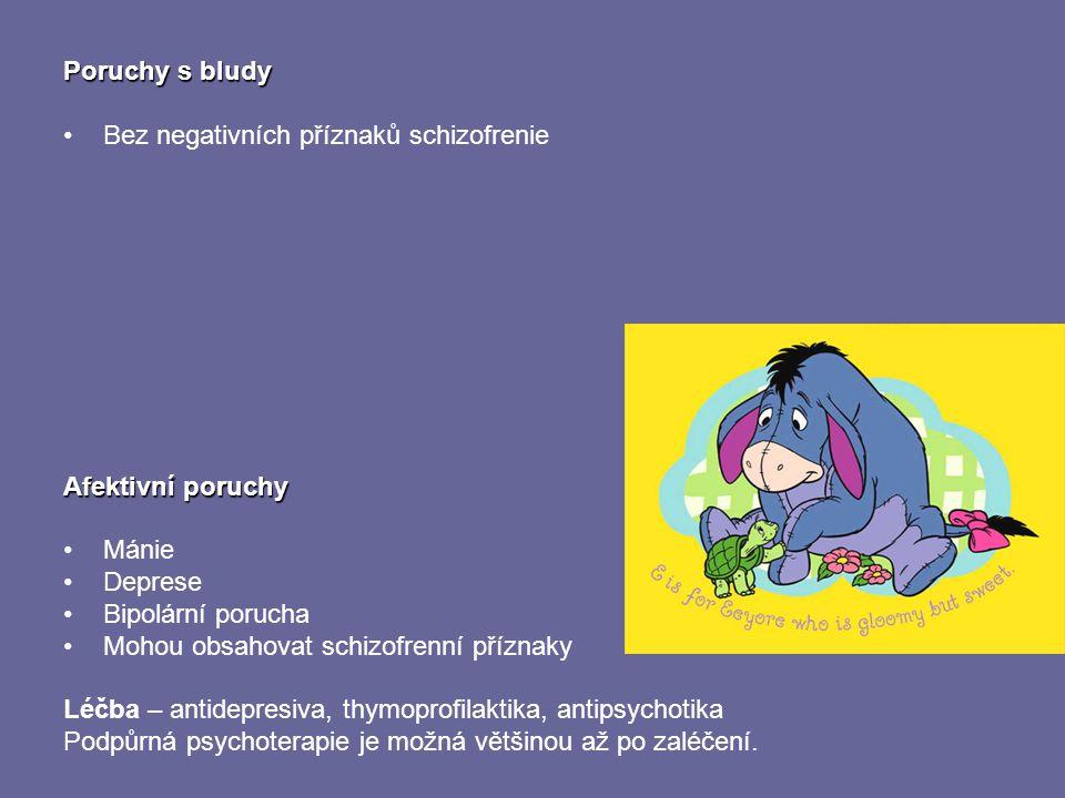 Poruchy s bludy Bez negativních příznaků schizofrenie Afektivní poruchy Mánie Deprese Bipolární porucha Mohou obsahovat schizofrenní příznaky Léčba –