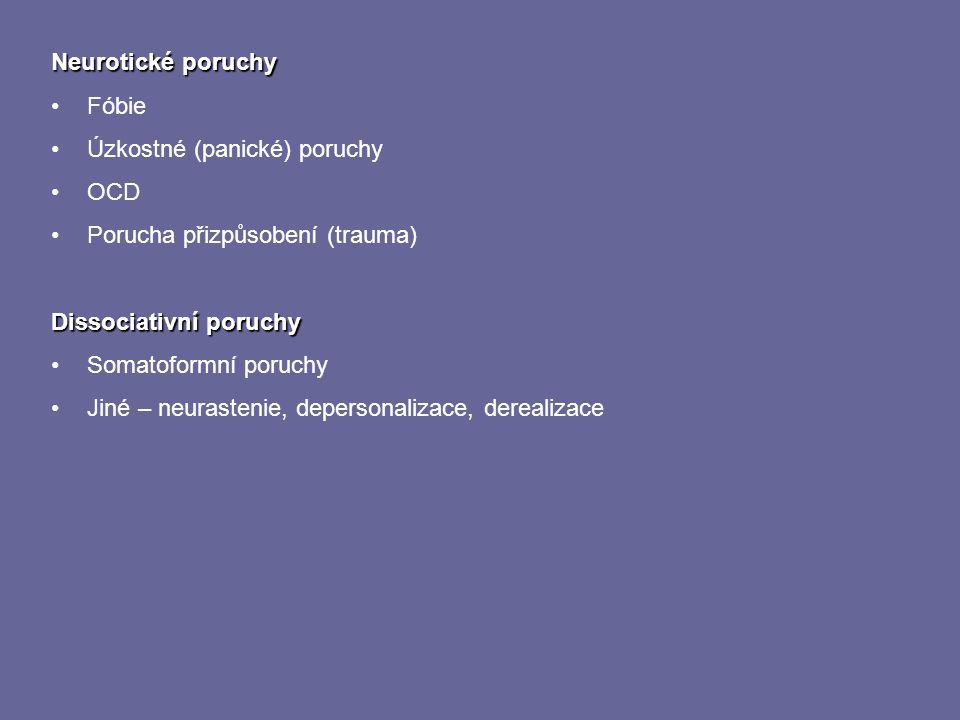 Neurotické poruchy Fóbie Úzkostné (panické) poruchy OCD Porucha přizpůsobení (trauma) Dissociativní poruchy Somatoformní poruchy Jiné – neurastenie, d