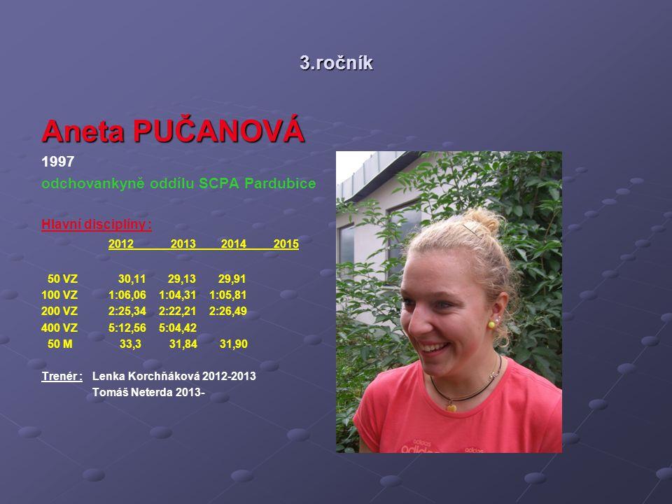 3.ročník Aneta PUČANOVÁ 1997 odchovankyně oddílu SCPA Pardubice Hlavní disciplíny : 2012 2013 2014 2015 50 VZ 30,11 29,13 29,91 100 VZ 1:06,06 1:04,31