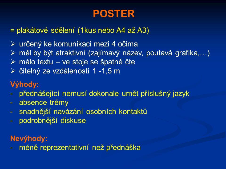 POSTER = plakátové sdělení (1kus nebo A4 až A3)  určený ke komunikaci mezi 4 očima  měl by být atraktivní (zajímavý název, poutavá grafika,…)  málo