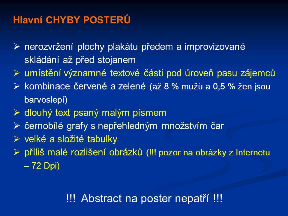 Hlavní CHYBY POSTERŮ  nerozvržení plochy plakátu předem a improvizované skládání až před stojanem  umístění významné textové části pod úroveň pasu z