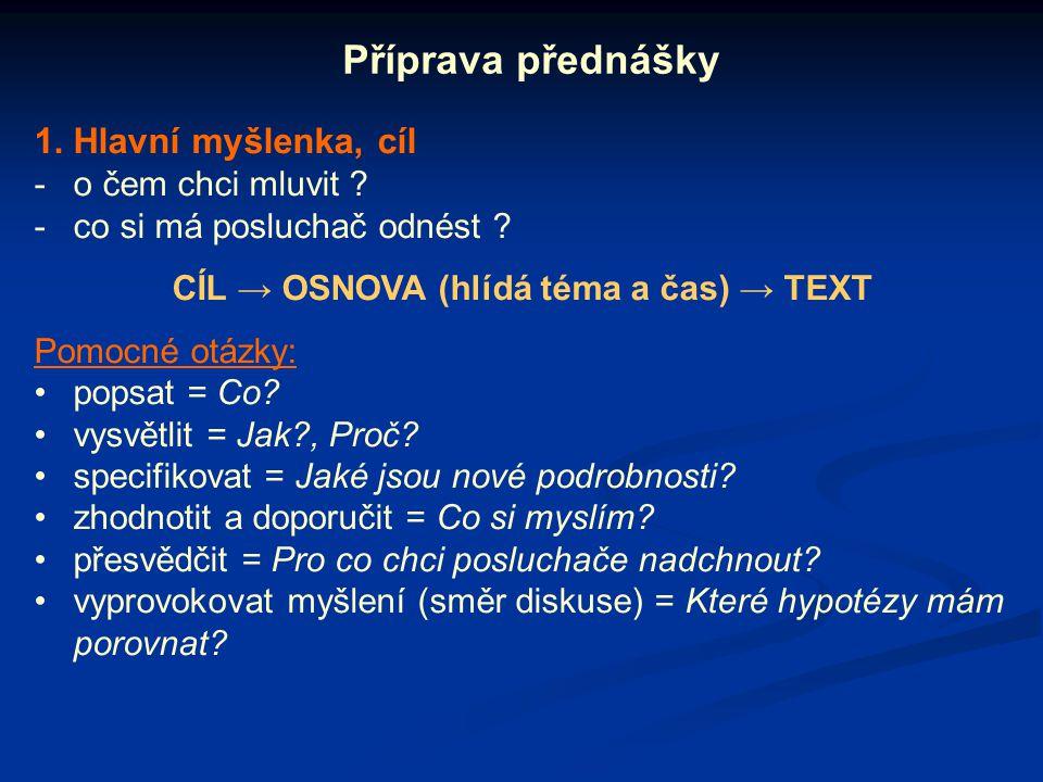 2.Příprava 1. verze textu přednášky (přibližně 2 strany A4) .