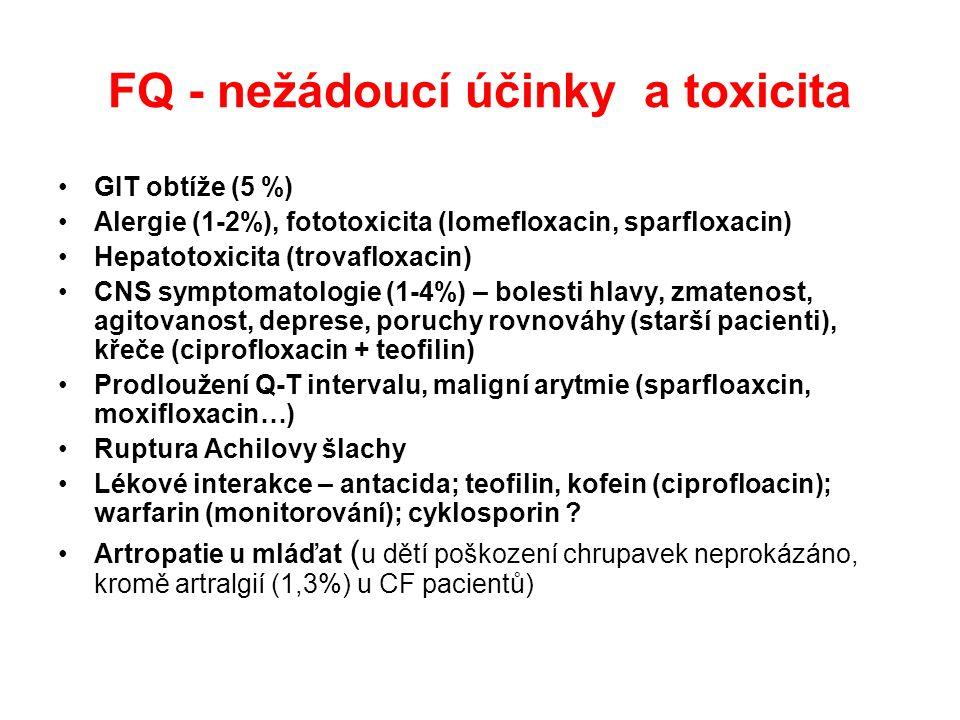 FQ - nežádoucí účinky a toxicita GIT obtíže (5 %) Alergie (1-2%), fototoxicita (lomefloxacin, sparfloxacin) Hepatotoxicita (trovafloxacin) CNS symptomatologie (1-4%) – bolesti hlavy, zmatenost, agitovanost, deprese, poruchy rovnováhy (starší pacienti), křeče (ciprofloxacin + teofilin) Prodloužení Q-T intervalu, maligní arytmie (sparfloaxcin, moxifloxacin…) Ruptura Achilovy šlachy Lékové interakce – antacida; teofilin, kofein (ciprofloacin); warfarin (monitorování); cyklosporin .