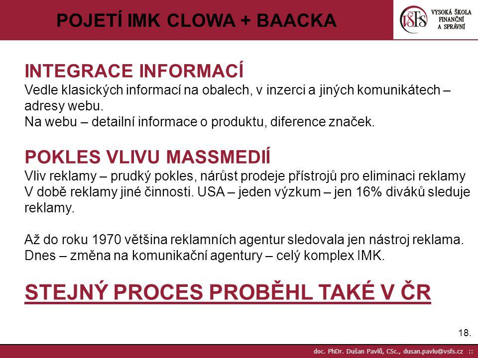 18. doc. PhDr. Dušan Pavlů, CSc., dusan.pavlu@vsfs.cz :: POJETÍ IMK CLOWA + BAACKA INTEGRACE INFORMACÍ Vedle klasických informací na obalech, v inzerc