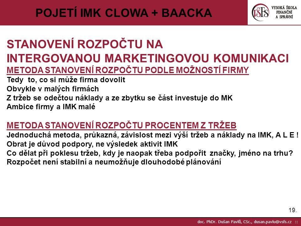 19. doc. PhDr. Dušan Pavlů, CSc., dusan.pavlu@vsfs.cz :: POJETÍ IMK CLOWA + BAACKA STANOVENÍ ROZPOČTU NA INTERGOVANOU MARKETINGOVOU KOMUNIKACI METODA