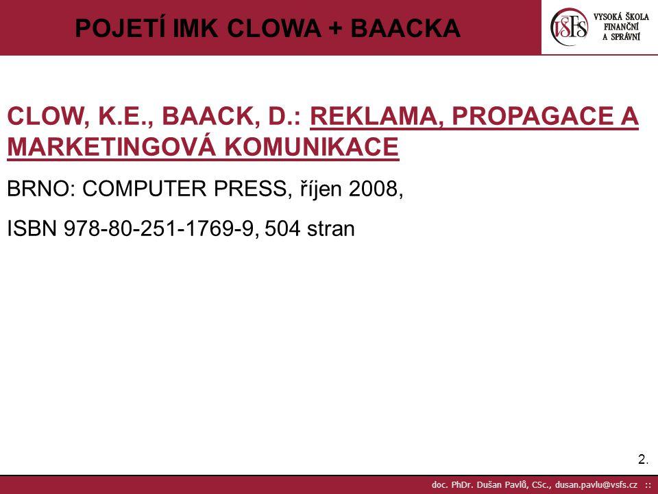 2.2. doc. PhDr. Dušan Pavlů, CSc., dusan.pavlu@vsfs.cz :: POJETÍ IMK CLOWA + BAACKA CLOW, K.E., BAACK, D.: REKLAMA, PROPAGACE A MARKETINGOVÁ KOMUNIKAC