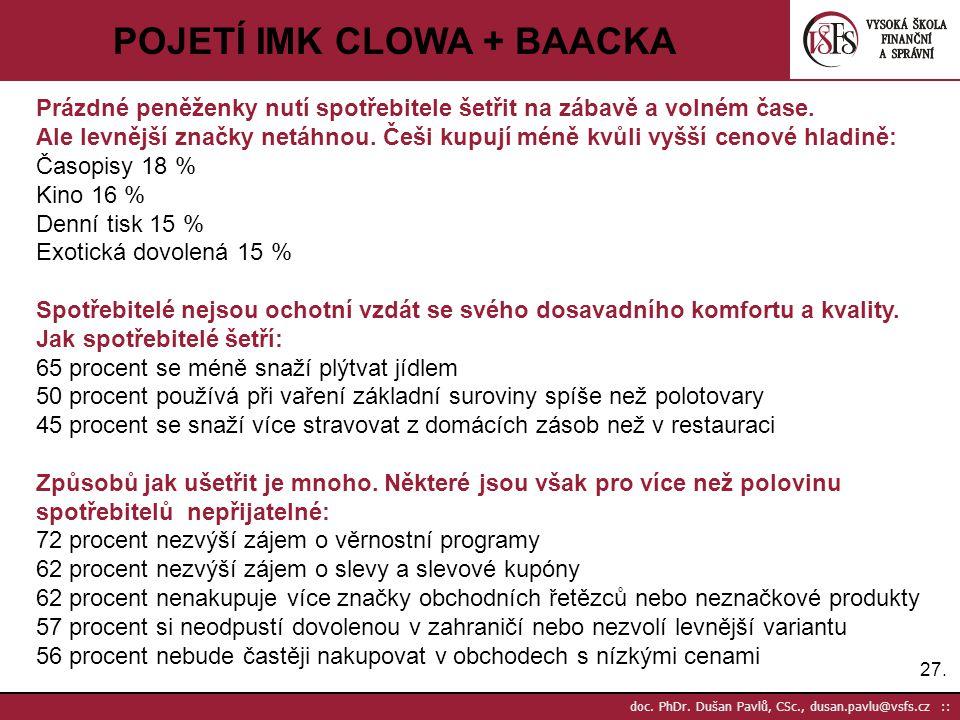 27. doc. PhDr. Dušan Pavlů, CSc., dusan.pavlu@vsfs.cz :: POJETÍ IMK CLOWA + BAACKA Prázdné peněženky nutí spotřebitele šetřit na zábavě a volném čase.
