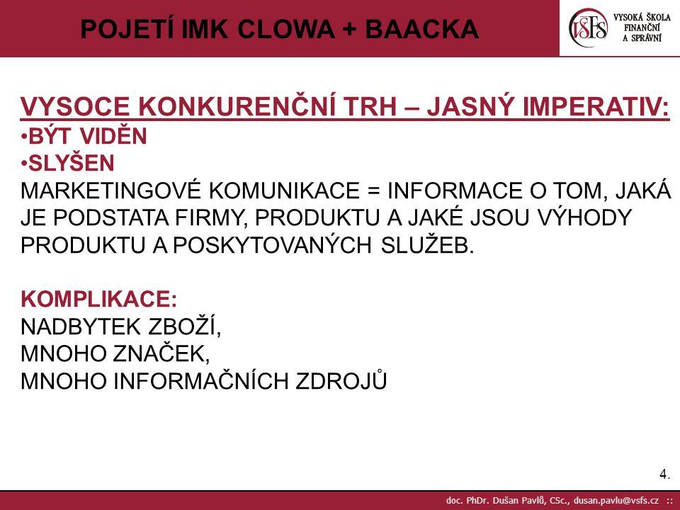 25. doc. PhDr. Dušan Pavlů, CSc., dusan.pavlu@vsfs.cz :: POJETÍ IMK CLOWA + BAACKA JWT - 2008