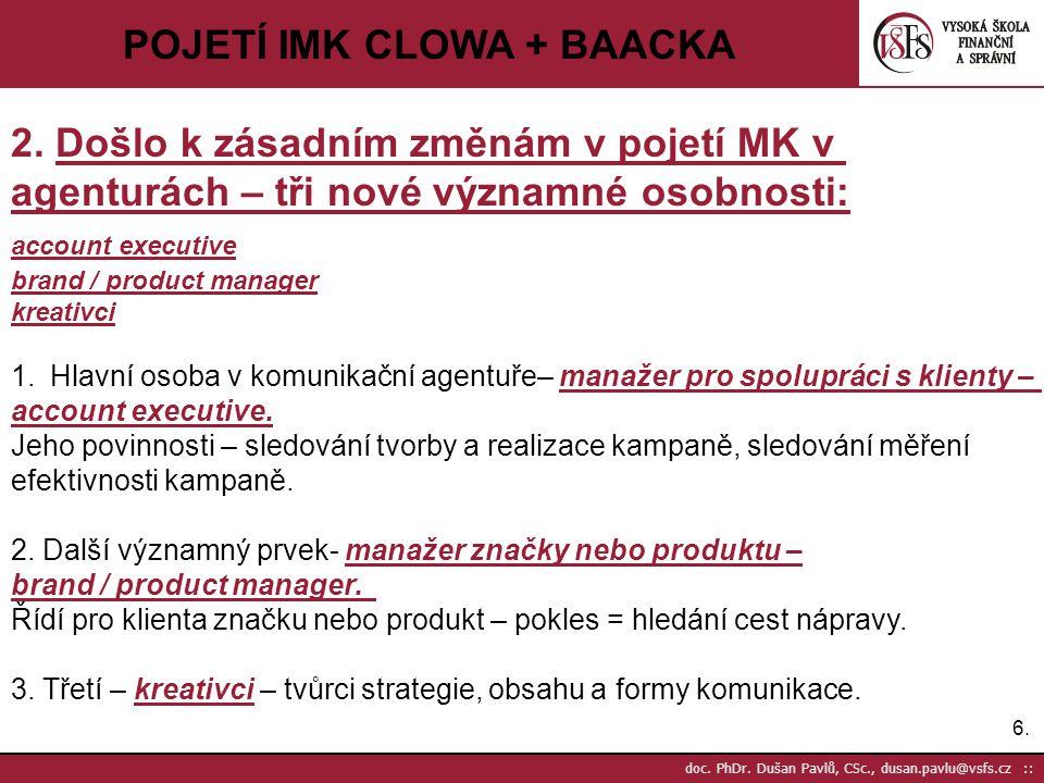 6.6. doc. PhDr. Dušan Pavlů, CSc., dusan.pavlu@vsfs.cz :: POJETÍ IMK CLOWA + BAACKA 2. Došlo k zásadním změnám v pojetí MK v agenturách – tři nové výz